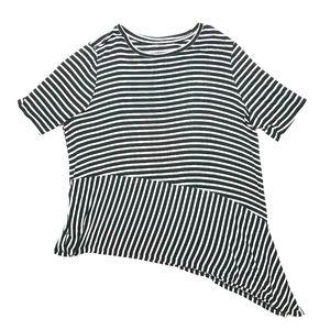 Lane Bryant Asymmetrical Black and White Stripes T